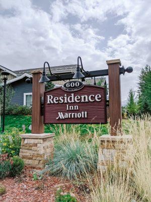 wood sign saying Residence Inn Marriott