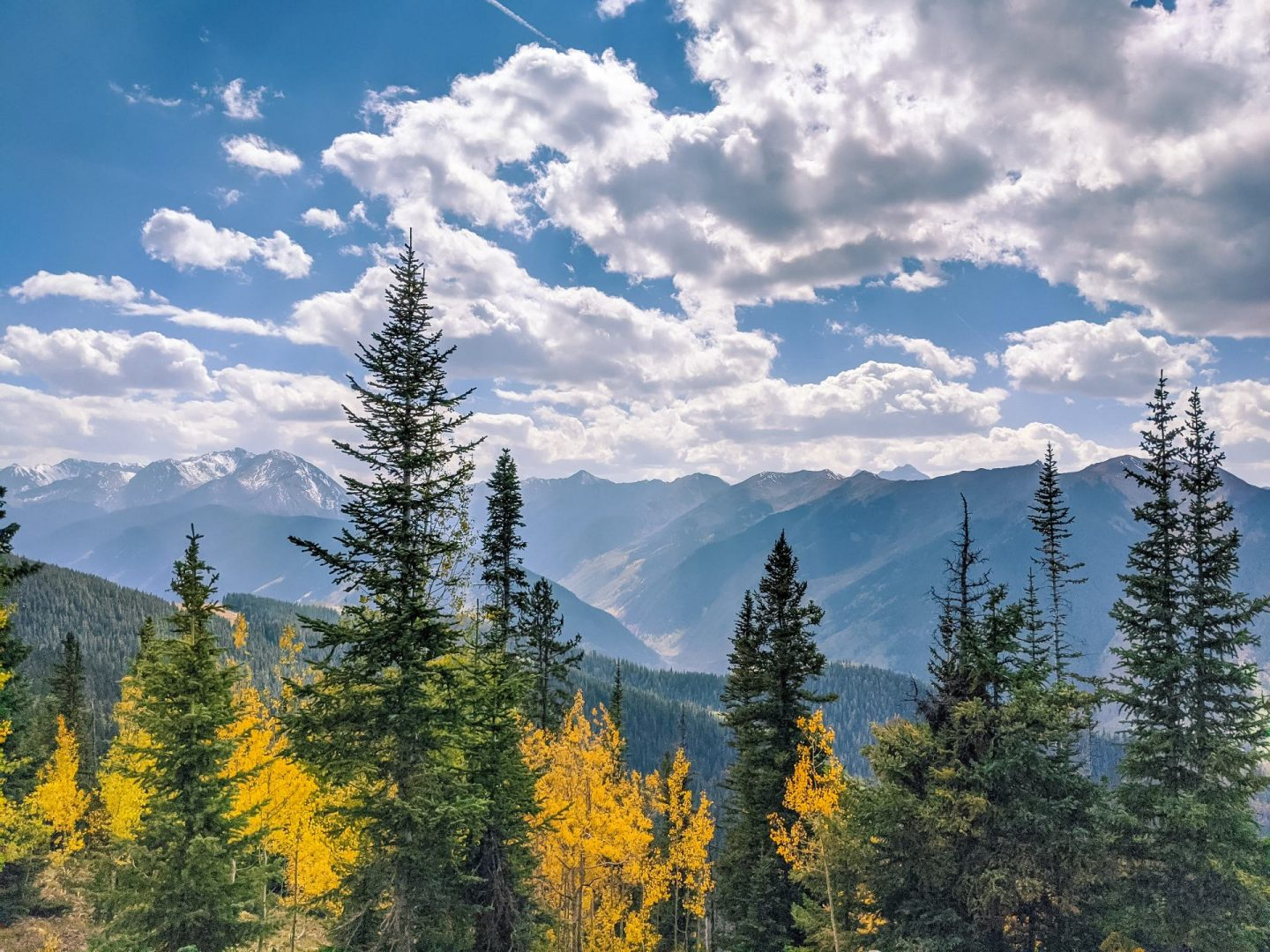 Colorful trees and mountain views along the road trip route